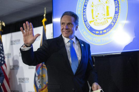 New York Gov. Andrew Cuomo departs a news conference at the Rochester Regional Health Riedman Campus Training Center in Irondequoit on May 11. (Stefani Reynolds/New York Times)