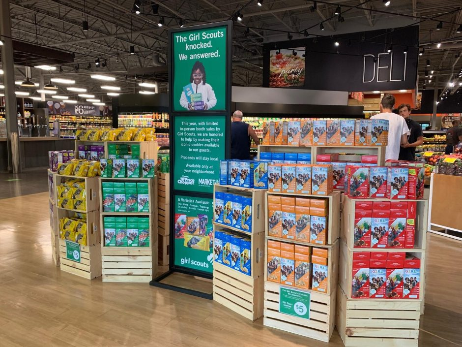 Girl Scout cookie display at Market 32 in Clifton Park.