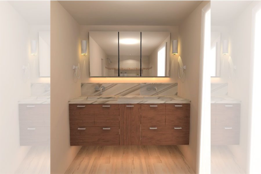 Provided photo. Rendering of the vanity of the Benton's bathroom, designed by Marianne Clifford of Marianne Ashley Designs.