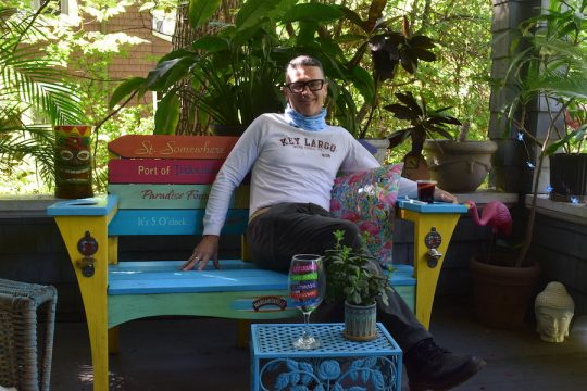 Marc Renson in his Key Largo-inspired porch.
