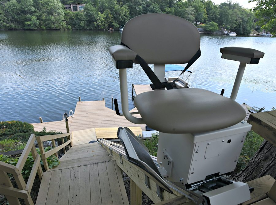 A view of the new chairlift for Laura VanDerwerker, installed by her family at her home on Westside Drive overlooking the southern end of Ballston Lake.