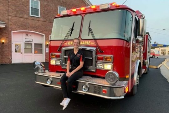 Katie DeBenedetti is shown at the Canajoharie Volunteer Fire Department. After a blaze destroyed her family's Palatine Bridge home in 2018, DeBenedetti — inspired by the actions of the first responders — decided to join the department to try and help others in the community.
