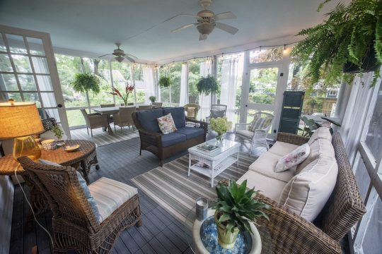 The enclosed outdoor porch at the Saratoga Springs home of Jane Sanzen, built in 1921.