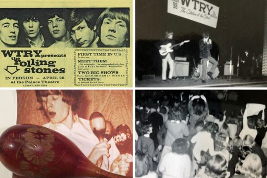 Clockwise from top left: A promotional poster for the 1965 shows at the Palace; Brian Jones and Mick Jagger on stage with the Rolling Stones on April 29, 1965; screaming fans at the show; a photo of Jagger with his maracas and one that was taken by a fan at one of the shows that day in Albany. (Photos at left from the collection of Gary Greenberg; photos at right by David Lucas)