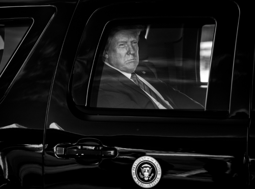 President Donald Trump in the presidential limo at Joint Base Andrews in Maryland in September. Credit: Doug Mills/The New York Times