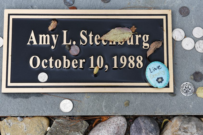 The marker honoring Schoharie limo crash victim Amy Steenburg Tuesday at the memorial site.