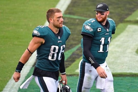 Eric Hartline/USA TODAY SportsPhiladelphia Eagles tight end Zach Ertz and quarterback Carson Wentz walk off the field last Sunday after their 23-23 tie against the Cincinnati Bengals.