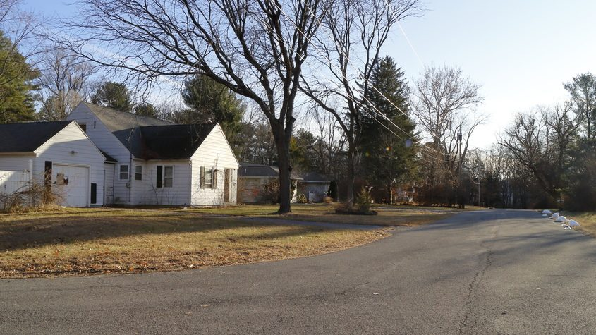 A November 2019 view of the neighborhood in Guilderland proposed for demolition to make way for a Costco warehouse store. (John Cropley/Business Editor)