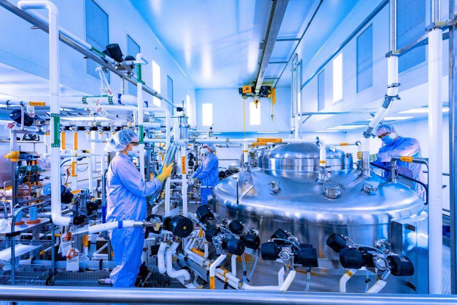 Antibody production work underway recently at Regeneron's East Greenbush production facility.PHOTO PROVIDED