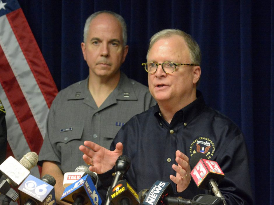 Robert L. Sumwalt, chairman of the National Transportation Safety Board, is shown speaking shortly after the Schoharie limousine crash in 2018 at NYSP Troop G in Latham. (Gazette file photo)