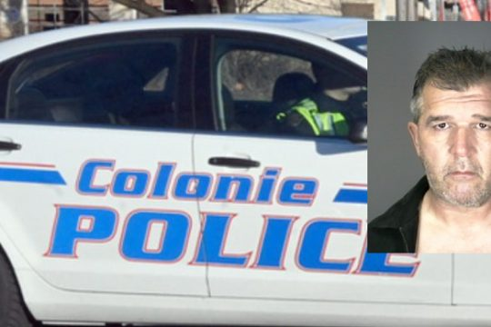 Wayne M. Rhodes. Credit: Inset, Colonie Police; Background, File