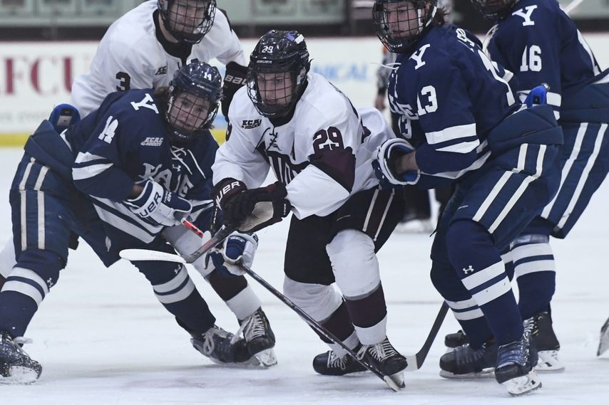 PETER R. BARBER/GAZETTE PHOTOGRAPHERUnion's Sean Harrison (29) goes after the puck against Yale at Messa Rink last season.