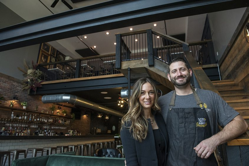 Kaytrin and Devin Ziemann stand in their newest restaurant location, The Nest, at 512 State St., Tuesday.