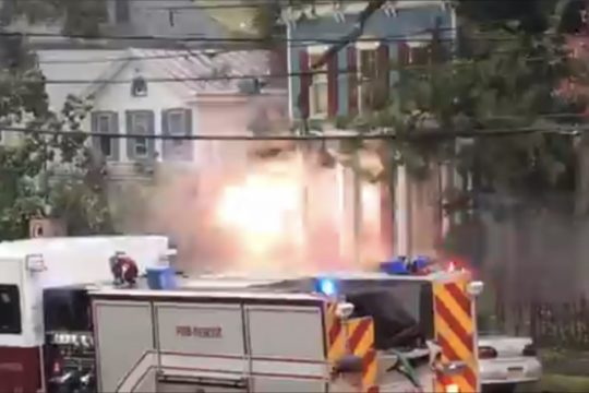 Video still: Sparks from downed wires outside Chez Nous on Union Street Wednesday. Damage to the restaurant was limited to wires being pulled from the building