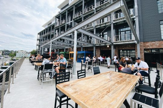 Frog Alley Brewing's main taproom patio is one of the outdoor spaces that will be open through October at the Schenectady establishment. (Courtesy Frog Alley Brewing)