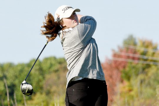 Schalmont's Dannah Smith, a ninth-grade student, hits a tee shot on the third hole during Tuesday's Colonial Council golf match against Monohasen/Schenectady at Orchard Creek Golf Club. (Erica Miller)