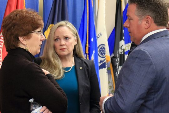 JOHN CROPLEY/BUSINESS EDITORFrom left, Albany Mayor Kathy Sheehan, Albany County Health Commissioner Dr. Elizabeth Whalen and Albany County Executive Daniel McCoy confer March 12 after announcingthe county's first confirmed cases of COVID-19.
