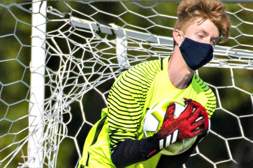 Shenendehowa's goalkeeper Noah Flint makes a save, October 10, 2020. (Peter R. Barber)