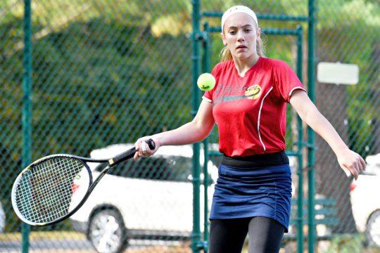 Schenectady/Mohonasen girls' tennis player Sarah Toukatly is shown during Monday's match in Schenectady against Colonie. (Erica Miller)