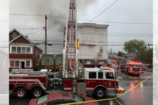 Schenectady firefighters at the scene Tuesday. Credit: Peter Barber/Staff Photographer