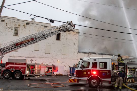 Firefighters at the scene Tuesday