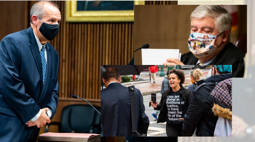 Left: Attorney Jack Calereso in court Tuesday; Top Right: Judge Mark Powers; Bottom Right: Activist Jamaica Miles confronts Calereso as he leaves Tuesday. Photos by Peter R. Barber/Staff Photographer