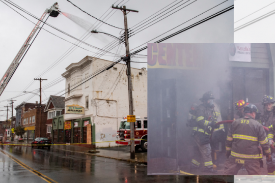 Firefighters at the scene Tuesday morning. Credit: Peter R. Barber/Staff Photographer