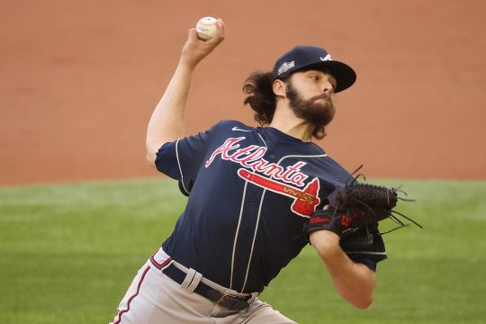 KEVIN JAIRAJ/USA TODAYSPORTSFormer Shenendehowa star Ian Anderson delivers a pitch for the Atlanta Braves against the Los Angeles Dodgers during Game 2 of the NLCS on Tuesday.