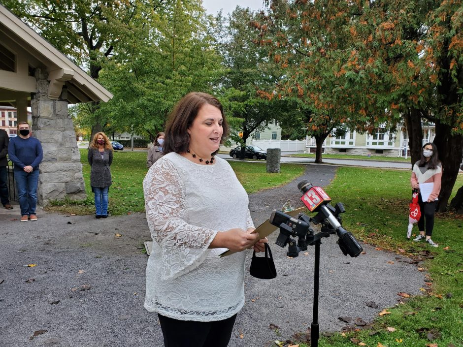 Courtney DeLeonardis, chair of One Saratoga, speaks Tuesday against the city charter change proposal on the ballot in Saratoga Springs. Credit: Stephen Williams/Staff Writer