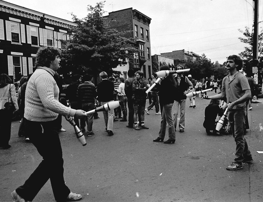 """Jugglers at the second Larkfest Saturday, Oct. 9, 1982 -- """"Larkfest II"""" in downtown Albany. About 50,000 people walked the Lark Street neighborhood during a cloudy fall day. File Photo"""