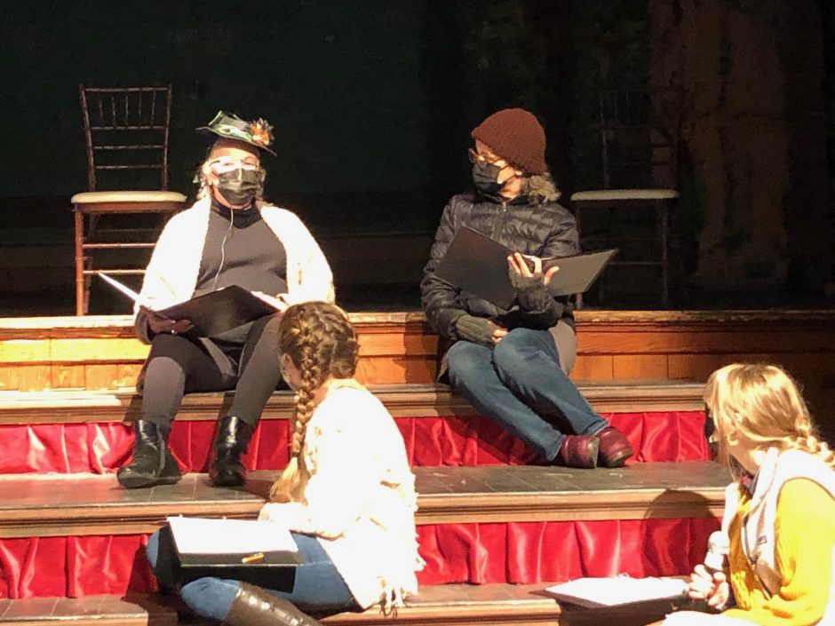"Cast members rehearse a scene from ""The Susan B. Anthony Project"" at Hubbard Hall. (photo provided)"