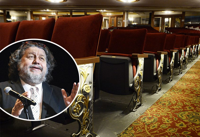 The seats inside Proctors in downtown Schenectady will remain empty for the foreseeable future. Inset: Philip Morris. (Gazette file photos).