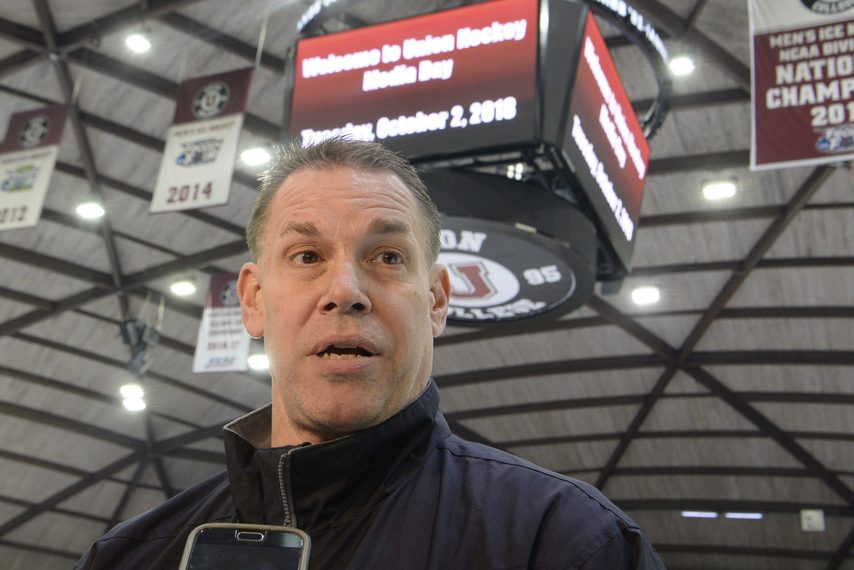 PETER R. BARBER/GAZETTE PHOTOGRAPHERUnion men's hockey head coach Rick Bennett's team has been practicing no-contact at Messa Rink for the last three weeks.