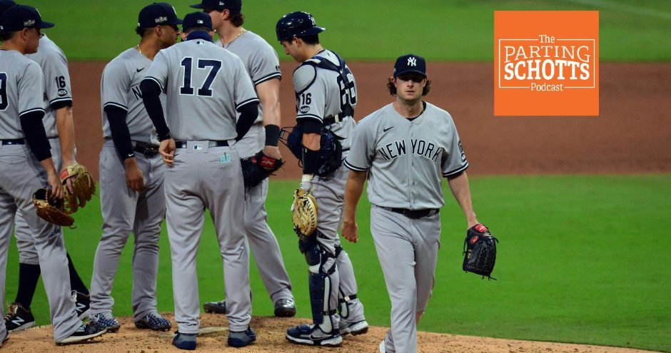 New York Yankees starting pitcher Gerrit Cole leaves the mound after being relieved during the sixth inning of Game 5 of the ALDS against the Tampa Bay Rays last Friday at Petco Park in San Diego.