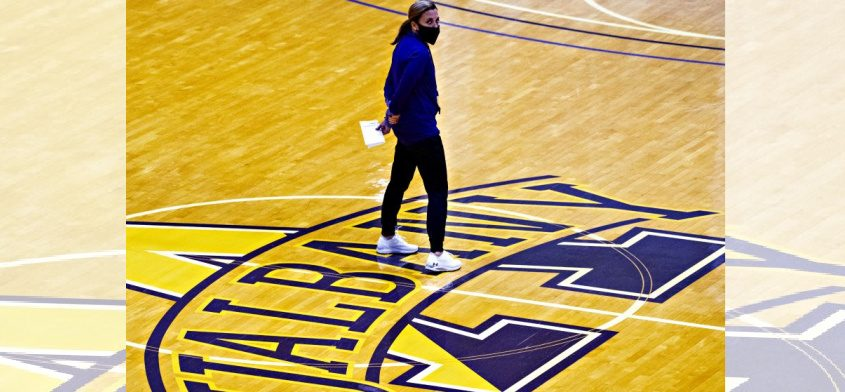 UAlbany women's basketball head coach Colleen Mullen is shown during Wednesday's practice at SEFCU Arena in Albany. (Peter R. Barber)