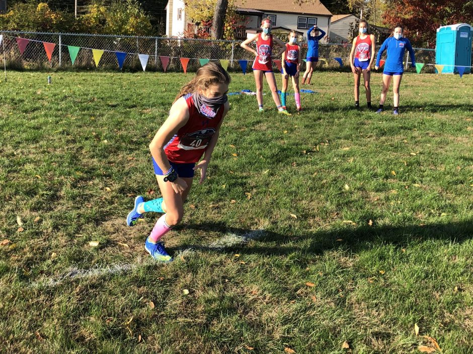Broadalbin-Perth's Haley Tomlinson gets ready to start during a cross country meet against Amsterdam on Wednesday at Broadalbin-Perth High School. Tomlinson, a freshman, is competing in both cross country and golf this fall. (Adam Shinder/Staff Writer)