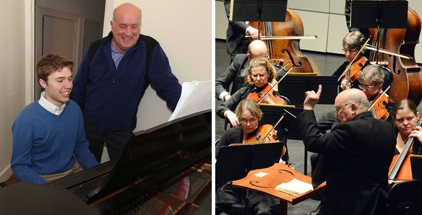 Charles Schneider looks on as Ryan Reilly practices the Tchaikovsky Piano Concerto No. 2 for the Schenectady Symphony Orchestra in March 2013.Right: Schneider conducts the Schenectady Symphony. (Gazette file photos)