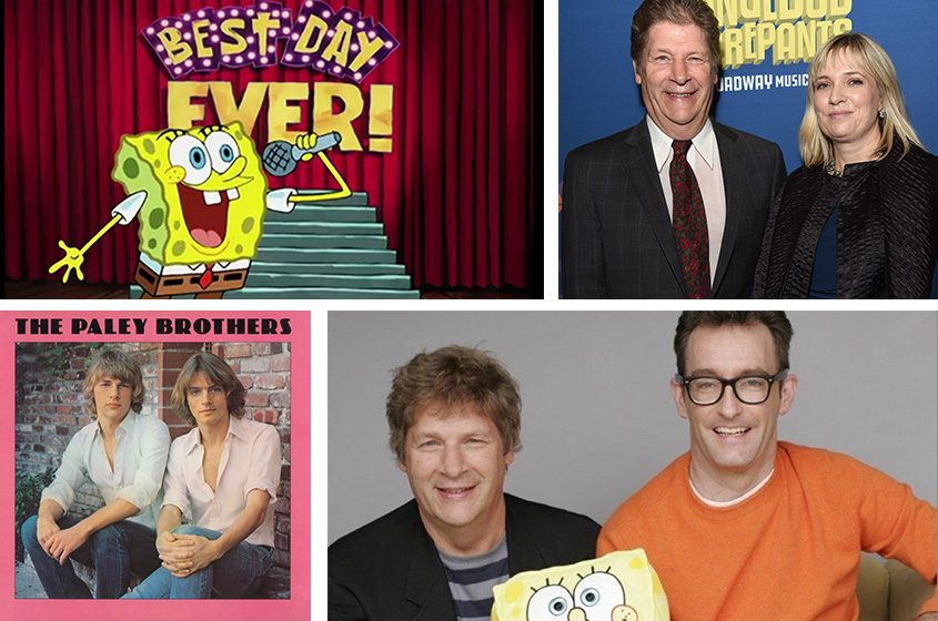 "Clockwise from top left: SpongeBob SquarePants sings the Andy Paley tune ""The Best Day Ever""; Paley and his wife, Heather Crist, pose for a photo at a ""SpongeBob SquarePants"" Broadway musical event; Paley with Tom Kenny, the voice of SpongeBob; the Paley Brothers album. (Credits: Nickelodeon, Andy Paley, Los Angeles Times)"