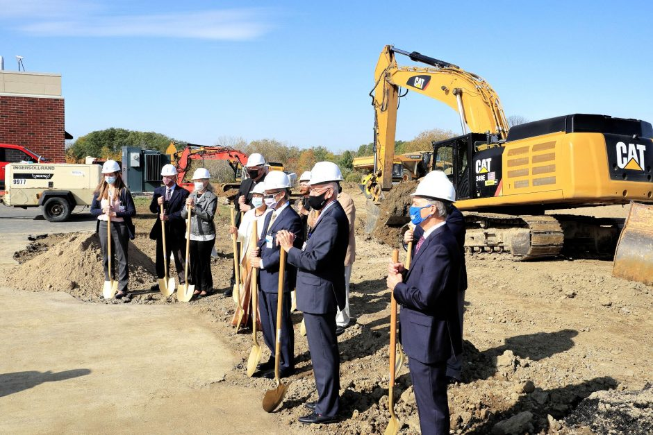 JOHN CROPLEY/BUSINESS EDITORDignitaries attend the ground-breaking ceremony Thursday for the expansion of the Rao Outpatient Pavilion at St. Mary's Healthcare in Amsterdam.