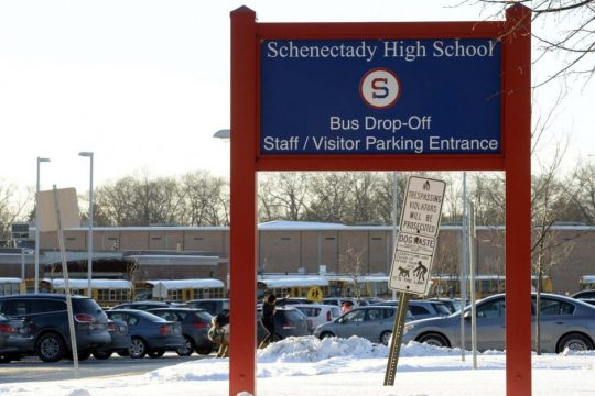 The Schenectady High School Bus/Visitors entrance off McClellan Street.