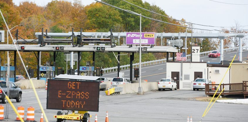 Toll booth at the Amsterdam exit, October 12, 2020.