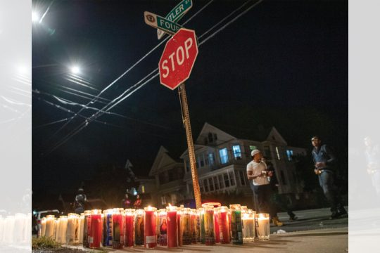 Peter R. Barber/Staff PhotographerCandles illuminate the intersection of Cutler Street and Fourth Avenue in Schenectady after a 30-year-old man was struck andkilledwhile riding his dirt bike on Thursday.