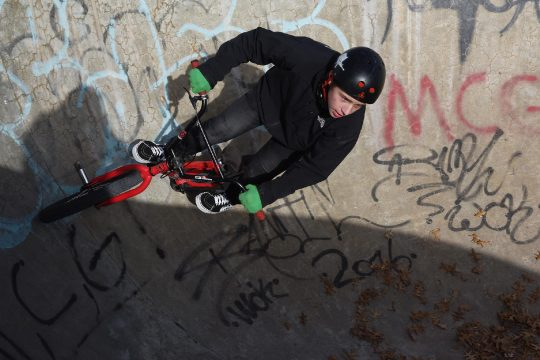 ERICA MILLER/GAZETTE PHOTOGRAPHER Bobby Parrish, 13,Hudson Falls, does BMX tricks on his bike at the Saratoga Skate Park at the East Side Recreation Field with friends in Saratoga Springsin December 2018.