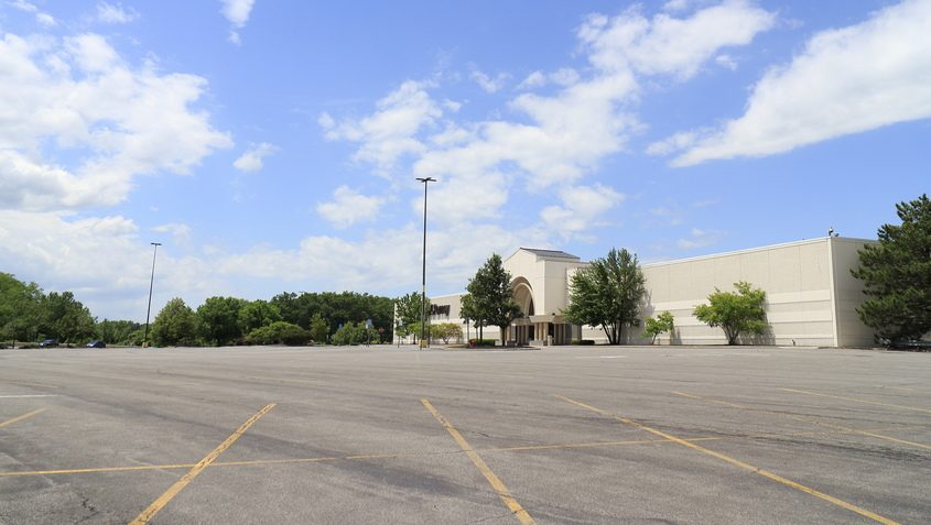 JOHN CROPLEY/Business EditorThe JC Penney parking lot at Crossgates Mall in Guilderland is deserted June 11 amid the state-ordered COVID-19 shutdown.