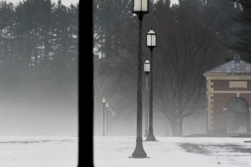 Fog rolls in as rain falls on snow near the reflection pool at Saratoga Spa State Park in Saratoga Springs in 2018.