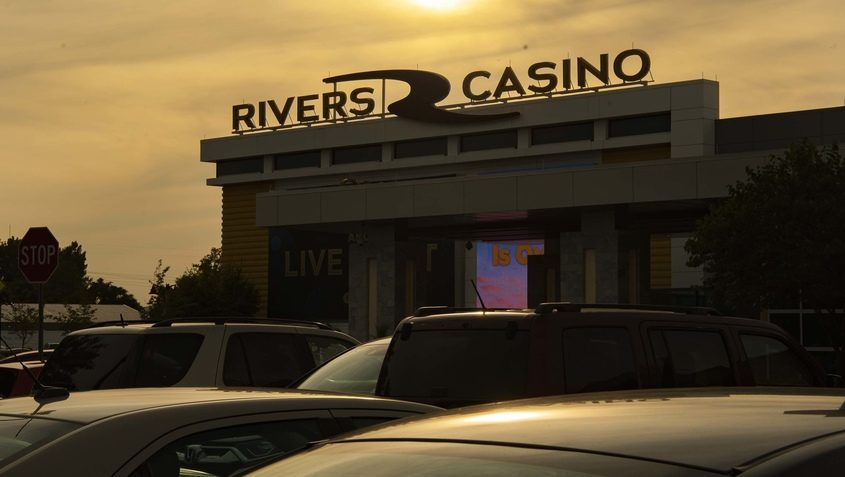 PETER R. BARBER/STAFF PHOTOGRAPHERThe sun sets behind Rivers Casino & Resort Schenectady on Sept. 9, the day it reopened after a six-month shutdown.