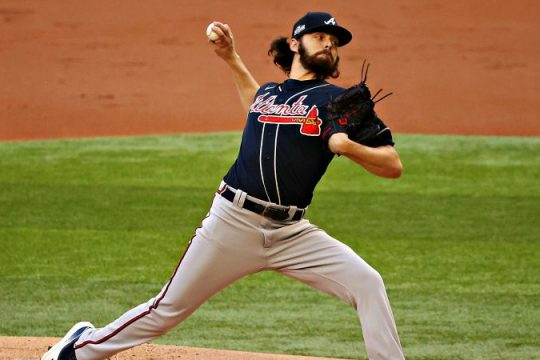 Ian Anderson of the Atlanta Braves pitches to the Los Angeles Dodgers during Game 2 of the National League Championship Series on Tuesday in Arlington, Texas. (Kevin Jairaj/USA Today Sports)