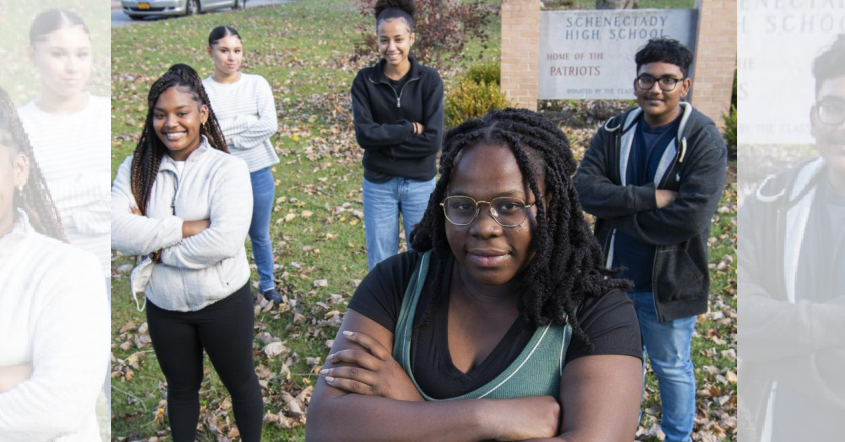 PETER R. BARBER/STAFF PHOTOGRAPHERSchenectady High School seniors, clockwise from left, Elizabeth Tchako, Gyonni Winter, Angelica Ortiz, Ryan Singh and Nouran Mouhoupose for a photo outside the school on Oct. 14.