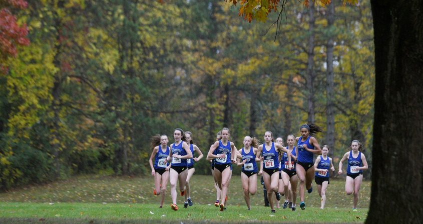 ERICA MILLER/STAFF PHOTOGRAPHER Start of Saratoga Springs girls cross country meet against Burnt Hills- Ballston Lake Friday