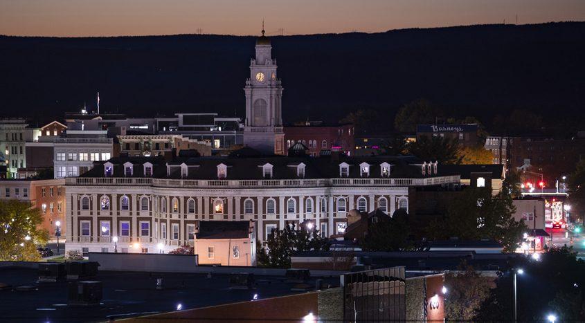 Schenectady City Hall at dusk Saturday